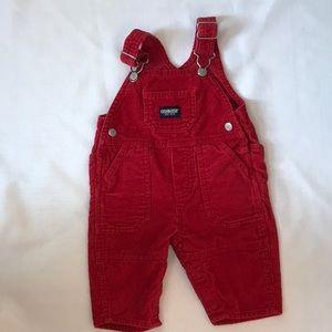 Vintage red corduroy Oshkosh overalls size 3-6 mo